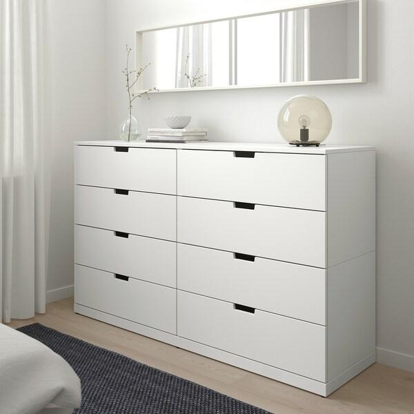 NORDLI Chest of 8 drawers, white, 160x99 cm