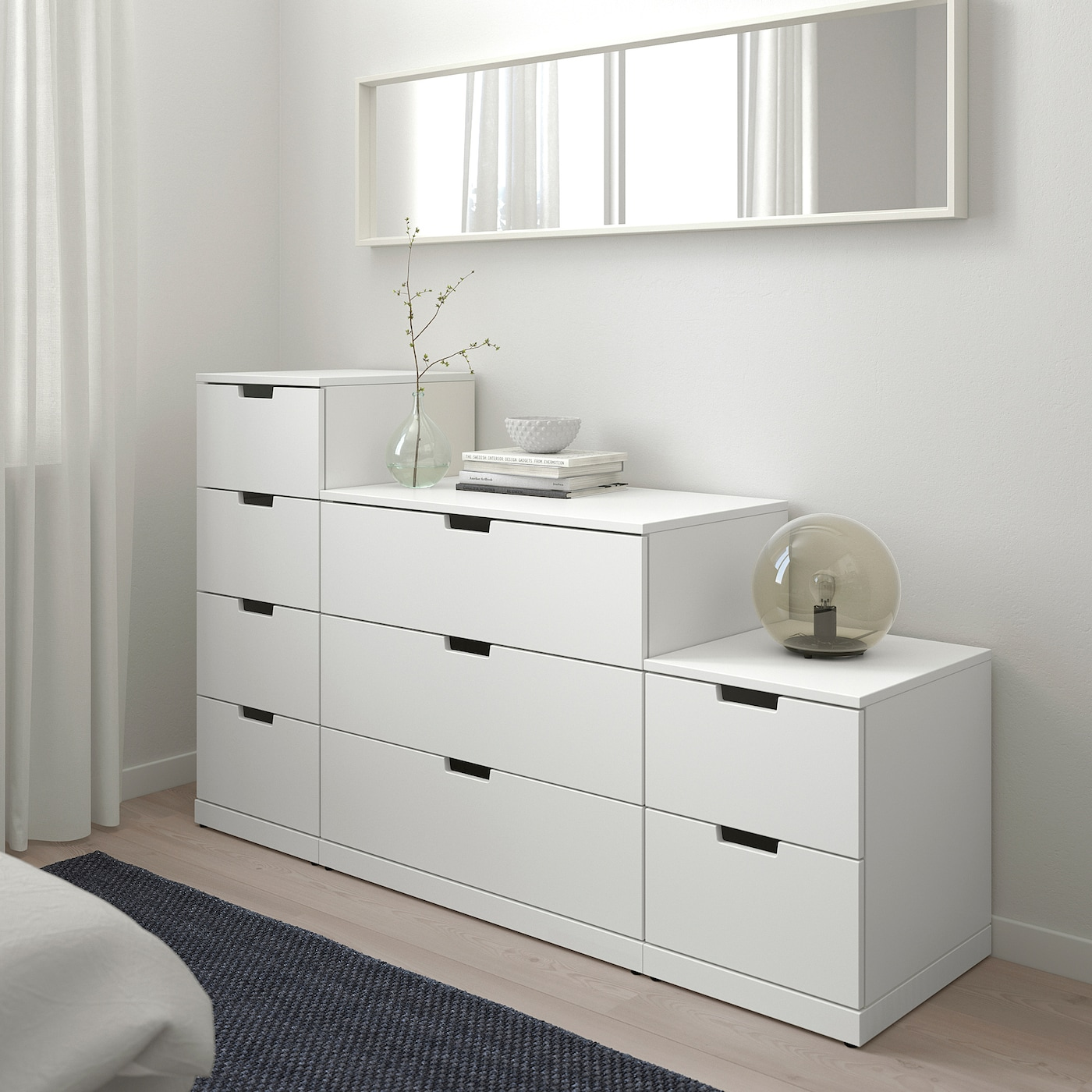 NORDLI Chest of 9 drawers, white, 160x99 cm