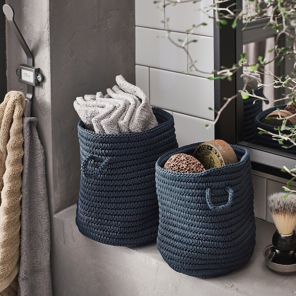 NORDRANA basket, set of 2 blue