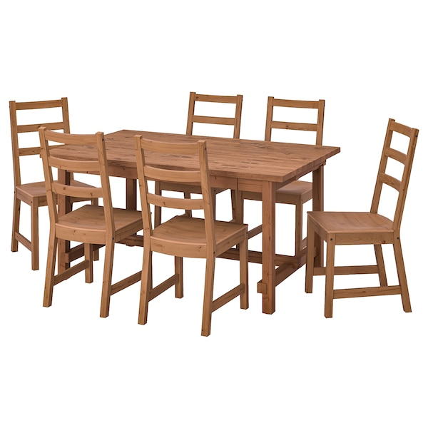 NORDVIKEN / NORDVIKEN Table and 6 chairs, antique stain/antique stain, 152/223x95 cm