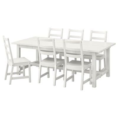 NORDVIKEN Table and 6 chairs, white/white, 210/289x105 cm