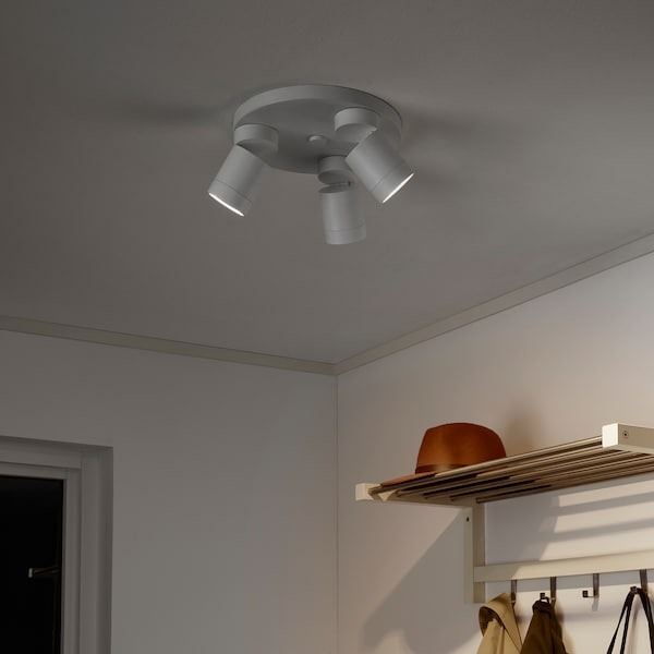 NYMÅNE Ceiling spotlight with 3 spots, white