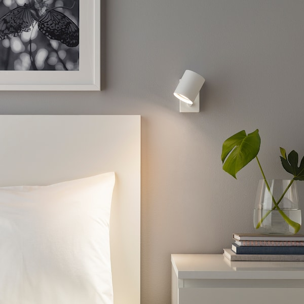 NYMÅNE wall/reading lamp, wired-in inst white 8.5 W 11 cm 7 cm