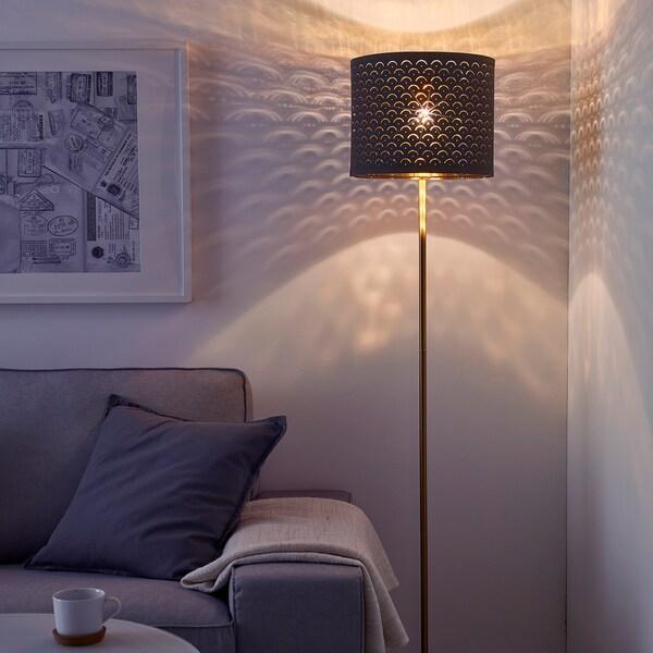 NYMÖ Lamp shade, black/brass-colour, 32 cm