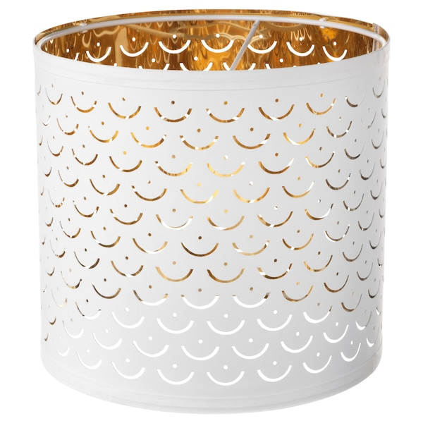 NYMÖ Lamp shade, white/brass-colour, 24 cm