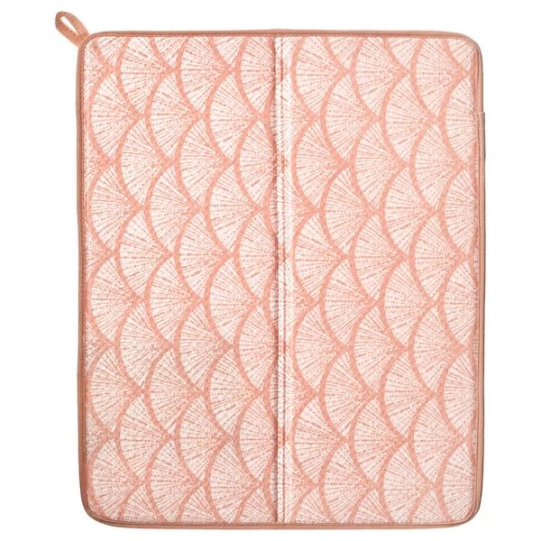 NYSKÖLJD Dish drying mat, pink/patterned, 44x36 cm
