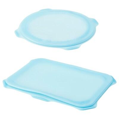 ÖVERMÄTT Food cover, set of 2, silicone light blue