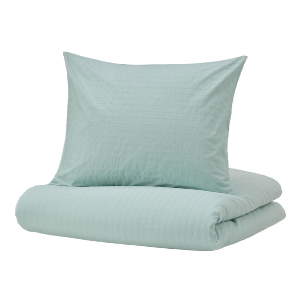 OFELIA Quilt cover and 2 pillowcases, light turquoise, 240x220/50x60 cm