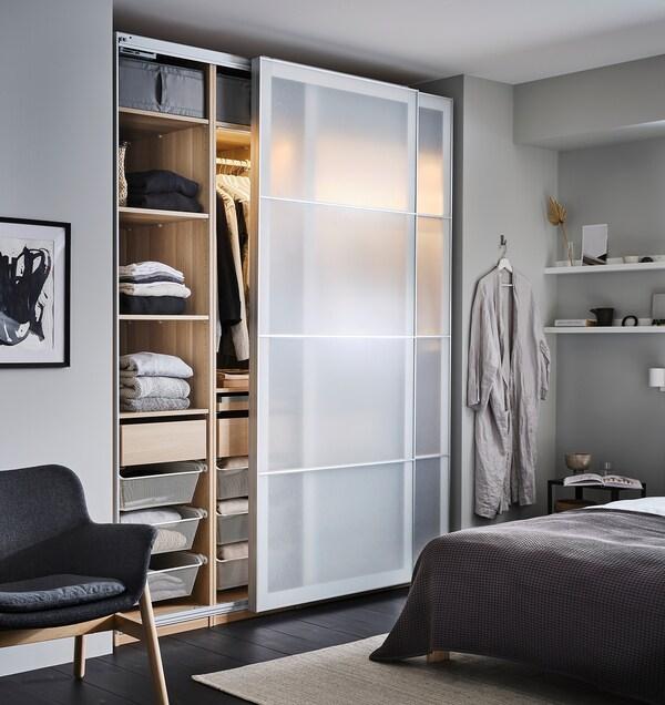 PAX 2 wardrobe frames, white stained oak effect, 150x35x236 cm