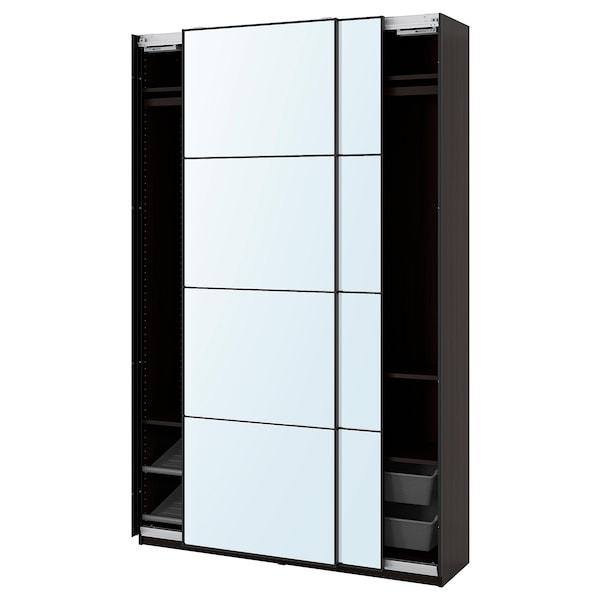 PAX / AULI Wardrobe combination, black-brown/mirror glass, 150x44x236 cm
