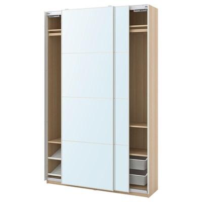 PAX / AULI Wardrobe combination, white stained oak effect/mirror glass, 150x44x236 cm