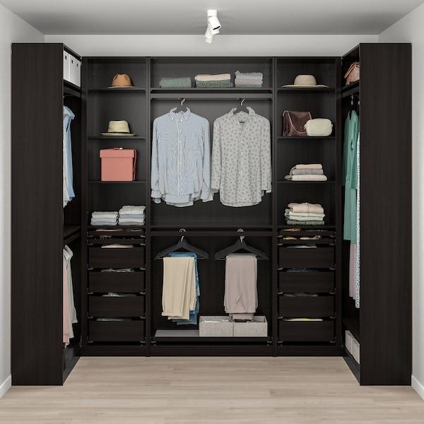 PAX corner wardrobe black-brown 275.8 cm 236.4 cm 112.9 cm 112.9 cm