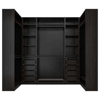 PAX Corner wardrobe, black-brown, 113/276/113x236 cm