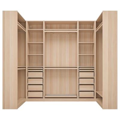 PAX Corner wardrobe, white stained oak effect, 113/276/113x236 cm