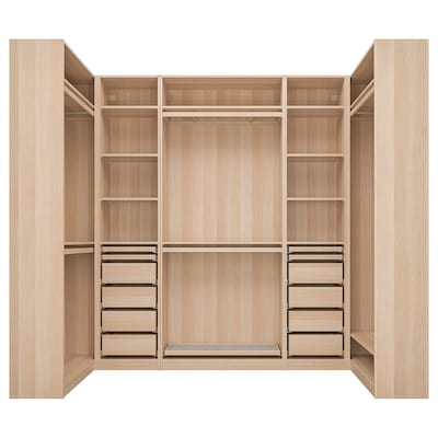 PAX Corner wardrobe, white stained oak effect, 113/276/113x236 cm