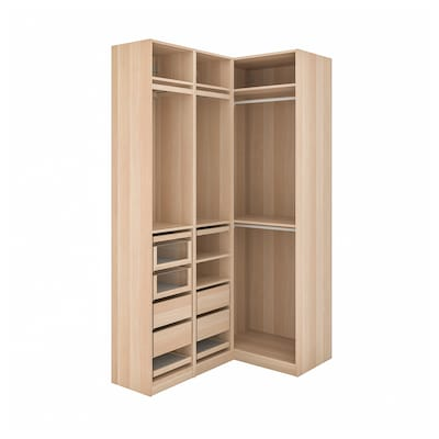 PAX Corner wardrobe, white stained oak effect, 160/88x236 cm