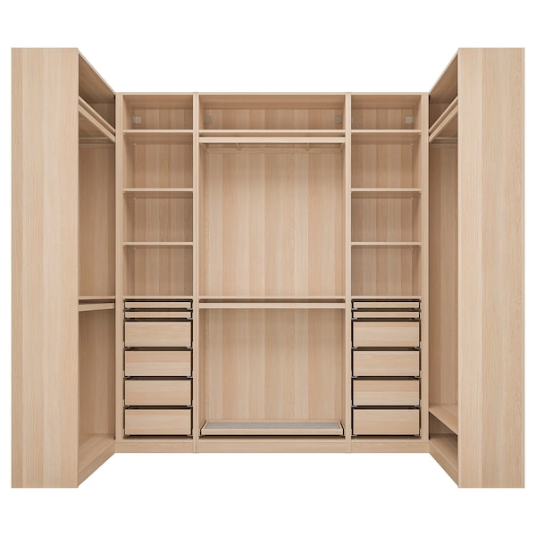 PAX corner wardrobe white stained oak effect 275.8 cm 236.4 cm 112.9 cm 112.9 cm