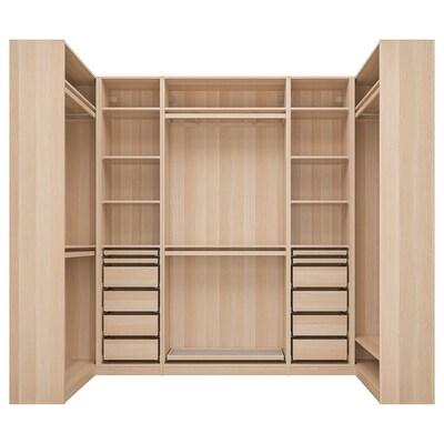 PAX corner wardrobe white stained oak effect 275.8 cm 236.4 cm 112.9 cm 112.9 cm