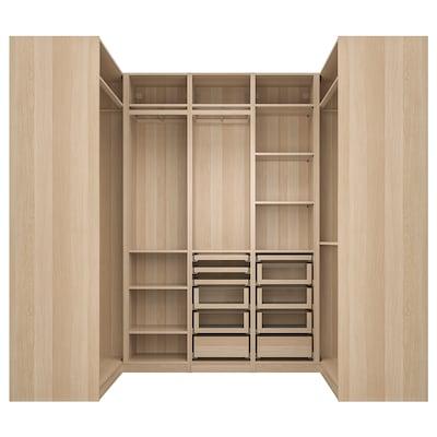 PAX corner wardrobe white stained oak effect 270.8 cm 236.4 cm 112.9 cm 112.9 cm