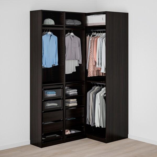 PAX corner wardrobe black-brown 236.4 cm 87.9 cm 160.3 cm