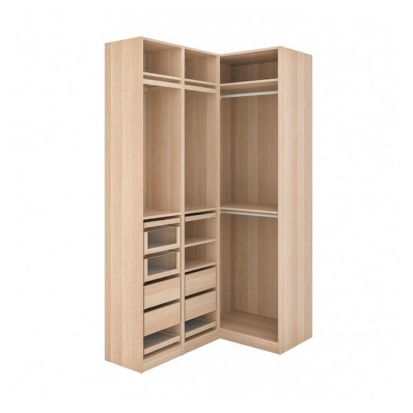 PAX corner wardrobe white stained oak effect 236.4 cm 87.9 cm 160.3 cm