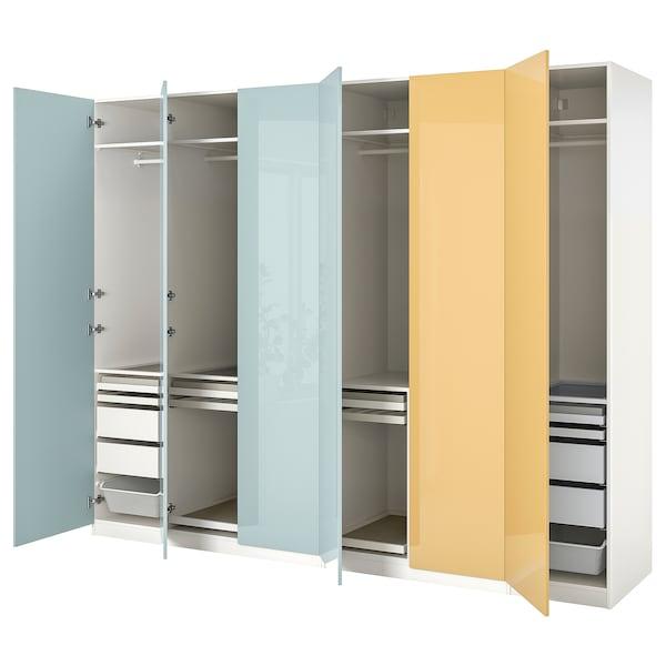 PAX / FARDAL Wardrobe combination, high-gloss light grey-blue/high-gloss yellow, 300x60x236 cm