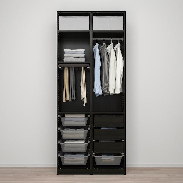 PAX / FORSAND Wardrobe combination, black-brown stained ash effect, 100x60x236 cm