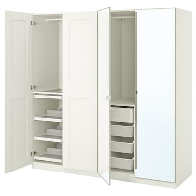 PAX / GRIMO/VIKEDAL Wardrobe combination, white/mirror glass, 200x60x201 cm