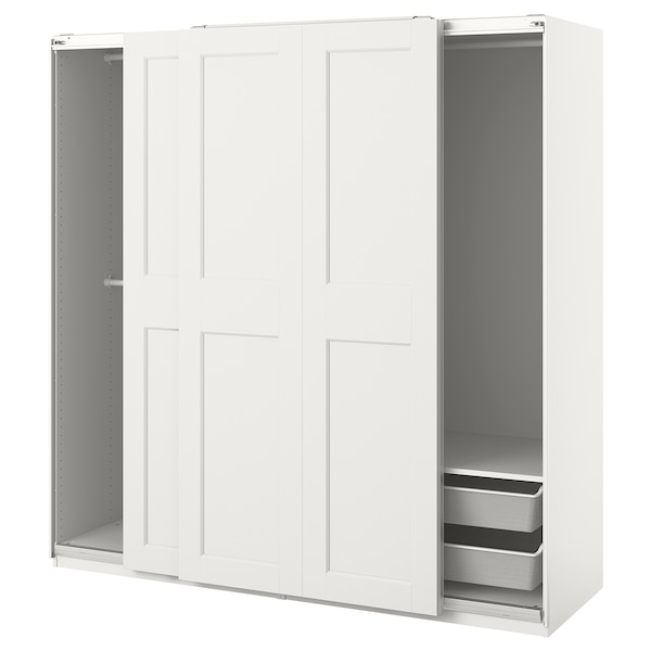 PAX / GRIMO Wardrobe combination, white, 200x66x201 cm