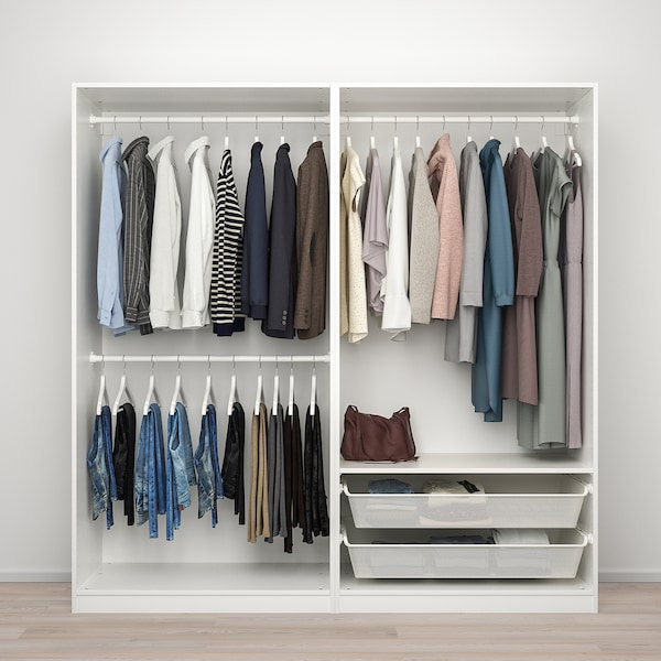 PAX / MEHAMN/AULI Wardrobe combination, white/double sided mirror glass, 200x66x201 cm