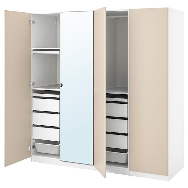PAX / REINSVOLL/VIKEDAL Wardrobe combination, white/grey-beige, 200x60x201 cm