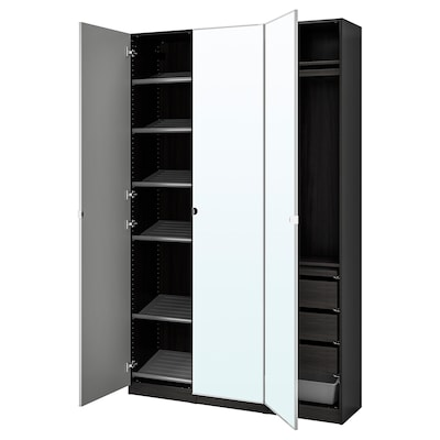 PAX / VIKEDAL Wardrobe combination, black-brown/mirror glass, 150x38x236 cm