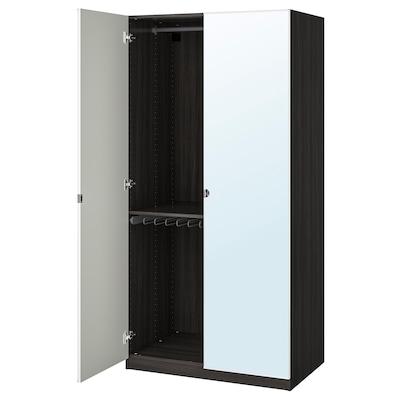 PAX Wardrobe, black-brown/Vikedal mirror glass, 100x60x201 cm