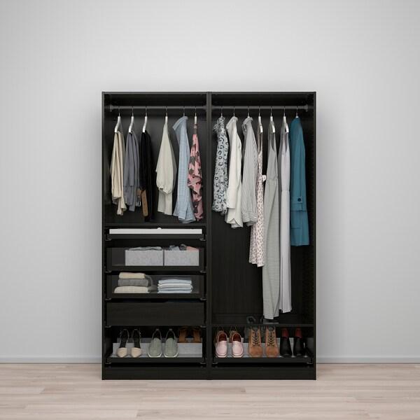 PAX Wardrobe combination, black-brown, 150x58x201 cm