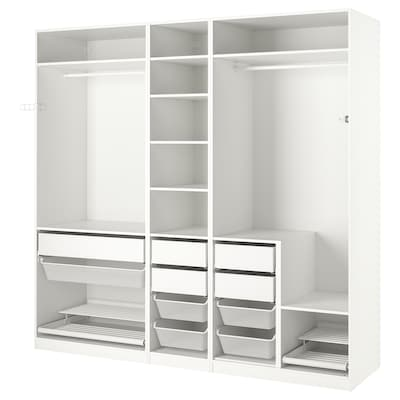 PAX Wardrobe combination, white, 250x58x236 cm