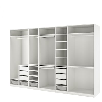 PAX Wardrobe combination, white, 375x58x236 cm
