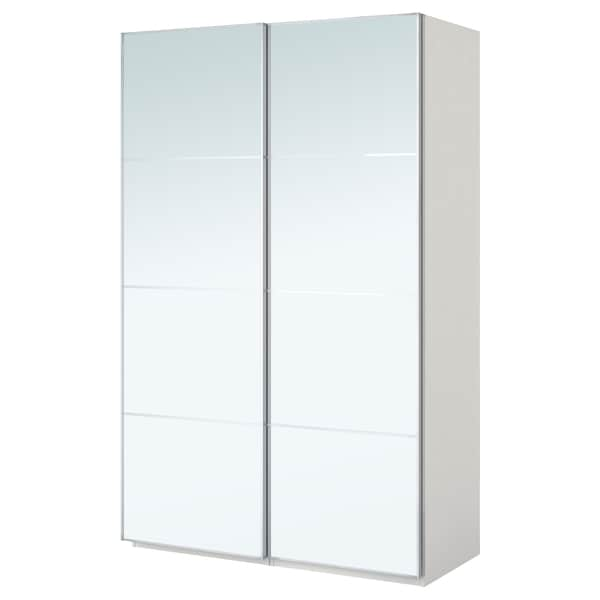 PAX wardrobe white/Auli mirror glass 150.0 cm 44.0 cm 201.2 cm