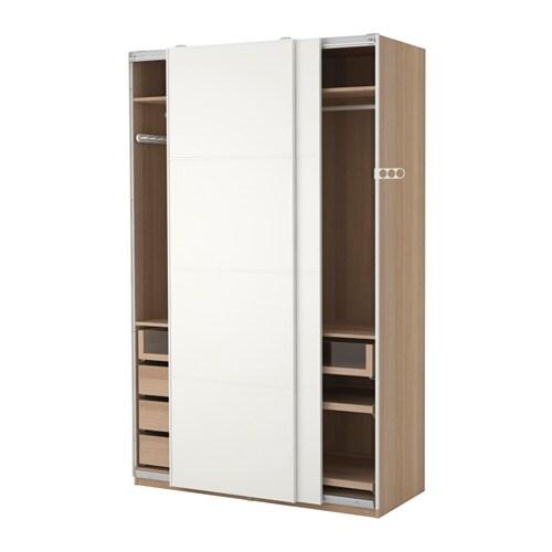 Ikea Pax 3 Ante Scorrevoli.Pax Wardrobe White Stained Oak Effect Mehamn White