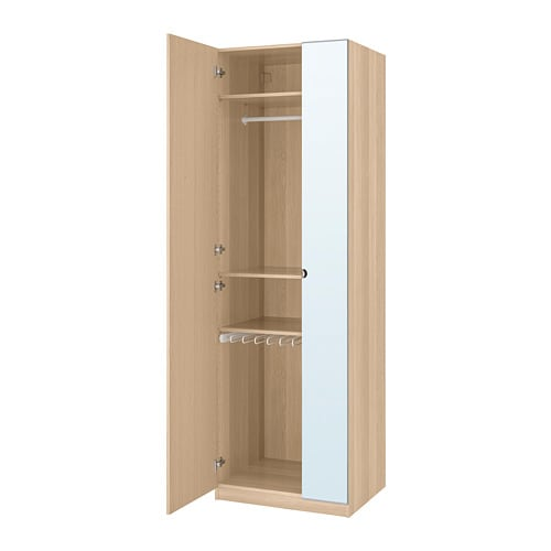 Pax Wardrobe White Stained Oak Effect Forsand Vikedal