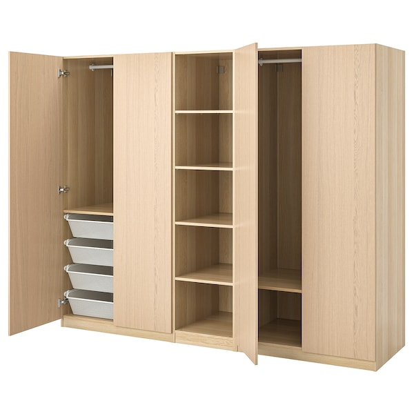 PAX wardrobe white stained oak effect/Forsand white stained oak effect 250 cm 60 cm 201.2 cm