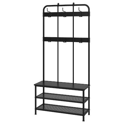 PINNIG Coat rack with shoe storage bench, black, 193x37x90 cm
