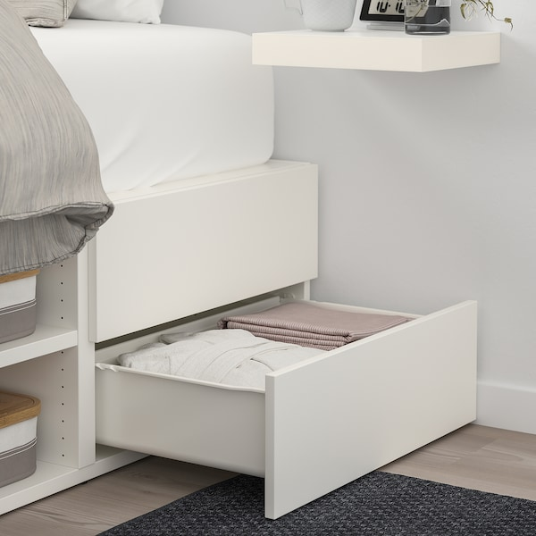 PLATSA bed frame with 6 doors+12 drawers white/Fonnes 40 cm 244 cm 140 cm 43 cm 202.6 cm 200 cm 140 cm