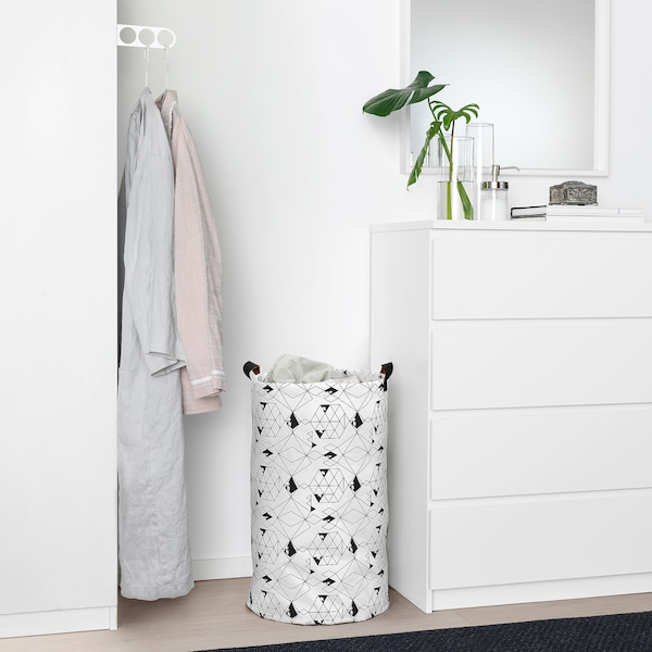 PLUMSA Laundry bag, white/black, 60 l