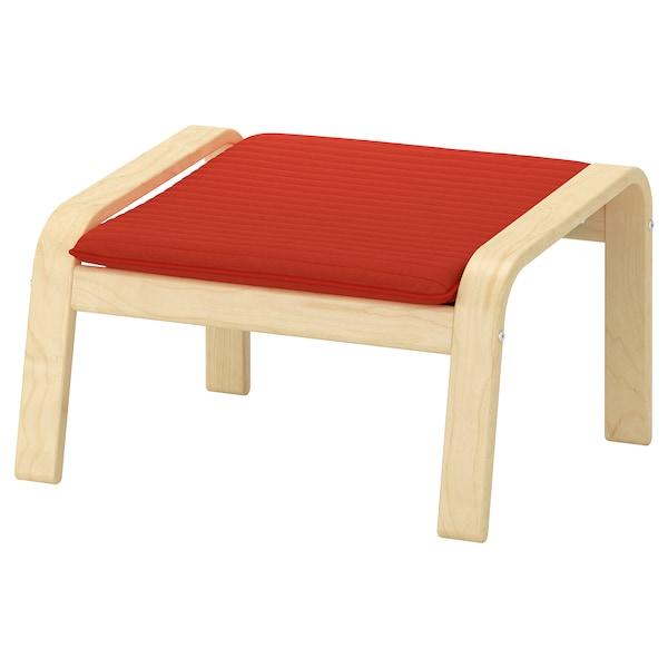 POÄNG footstool birch veneer/Knisa red/orange 68 cm 54 cm 39 cm 54 cm 54 cm 38 cm