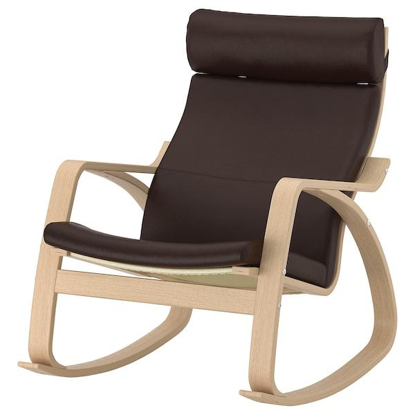 POÄNG rocking-chair white stained oak veneer/Glose dark brown 68 cm 94 cm 95 cm 56 cm 50 cm 45 cm