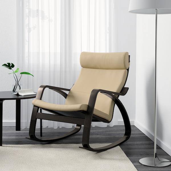 POÄNG rocking-chair black-brown/Glose eggshell 68 cm 94 cm 95 cm 56 cm 50 cm 45 cm