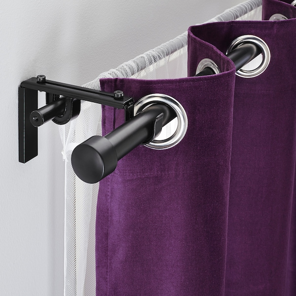 RÄCKA / HUGAD Double curtain rod combination, black, 210-385 cm