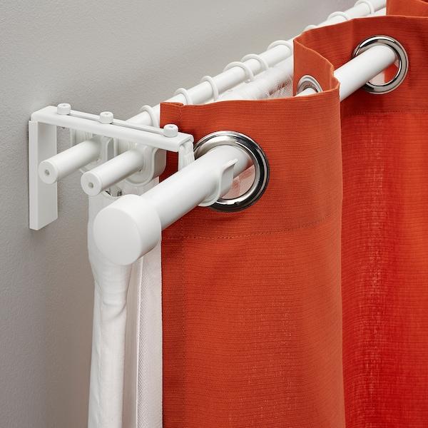 RÄCKA / HUGAD Triple curtain rod combination, white, 210-385 cm