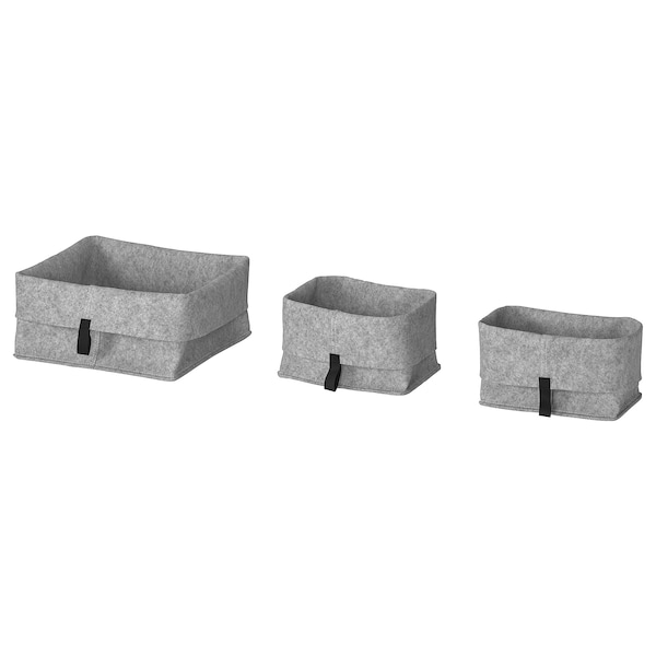 RAGGISAR Basket, set of 3, grey