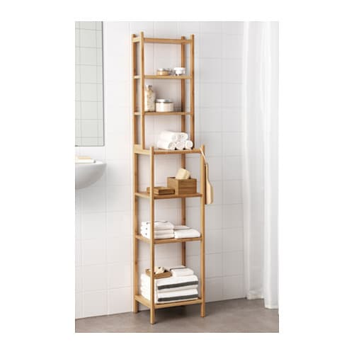 RÅGRUND Shelving unit IKEA Perfect in a small bathroom.  Bamboo is a hard-wearing natural material.